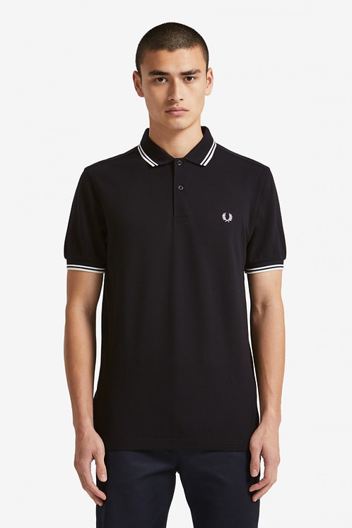 Twin Tipped Fred Perry Shirt-Black / Porcelain / Porcelain