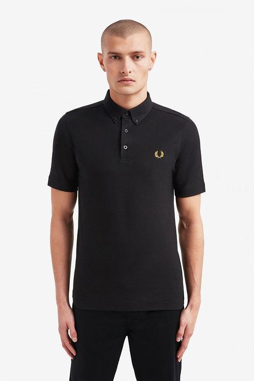 Button Down Polo Shirt-Black