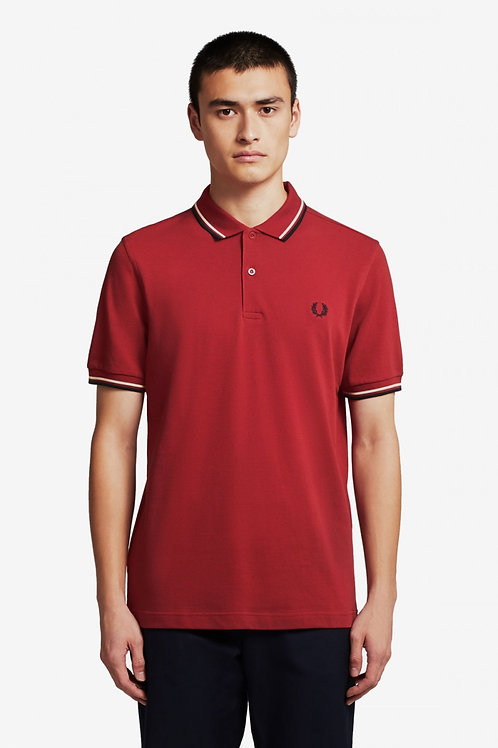 Twin Tipped Fred Perry Shirt-Rich Red/Natural/Navy