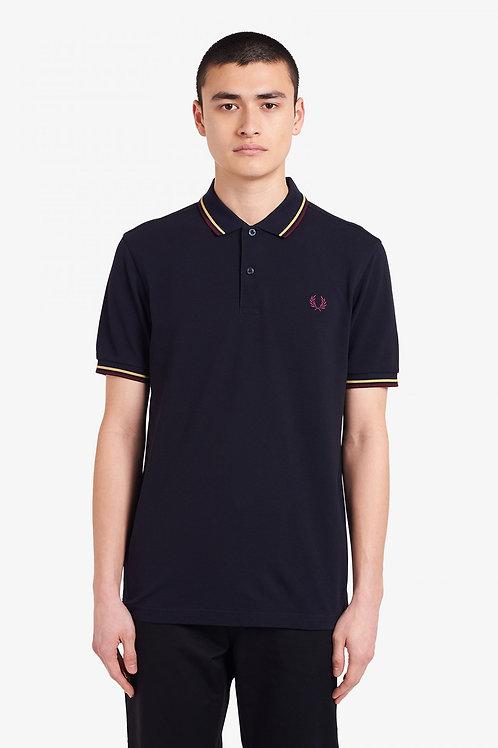 TwinTipped Fred Perry Shirt-Marineblau/Champagner/Mahagoni