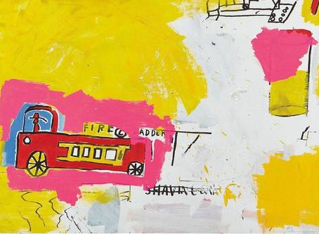 """""""Pink Elephant with Fire Engine"""" de Basquiat en vente à Londres !"""