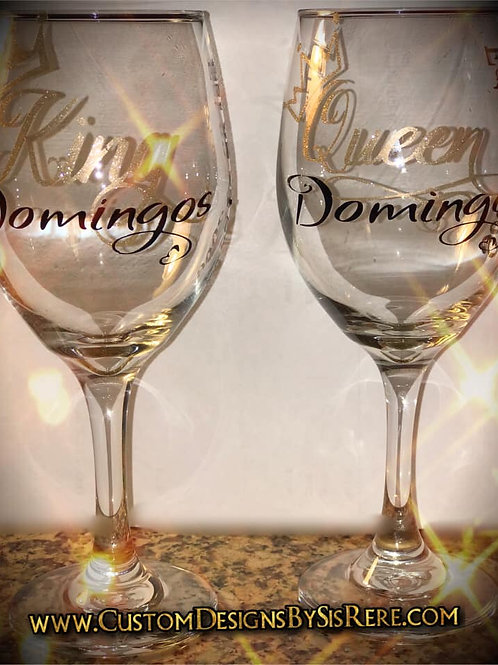 Personalized King & Queen Wine Glasses