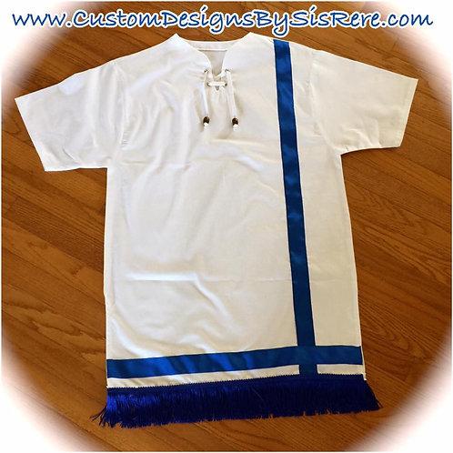 Beaded Blue Bold Bordered Fringed Tunic