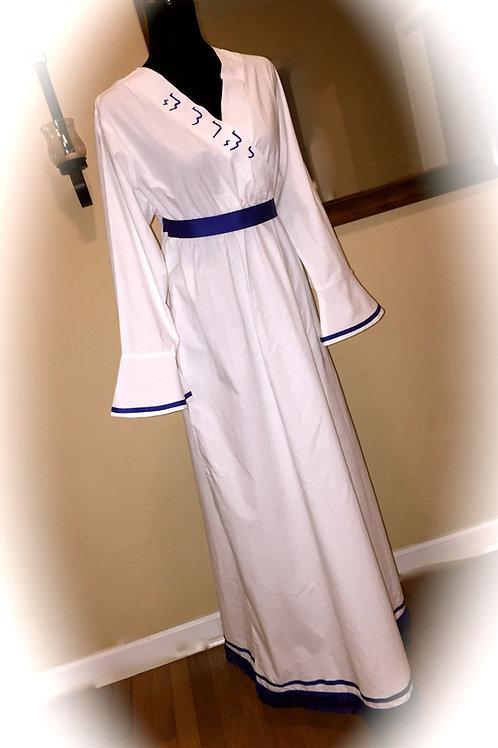 Sister White Fringed Bordered Tribal Garment