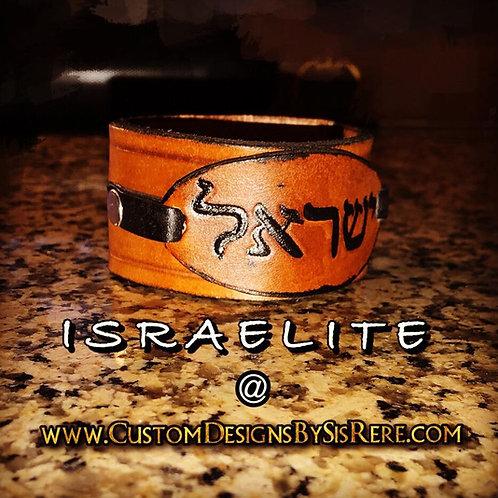 "1.5"" Hebrew Israelite Wrist Cuff w Oval Layered Leather"
