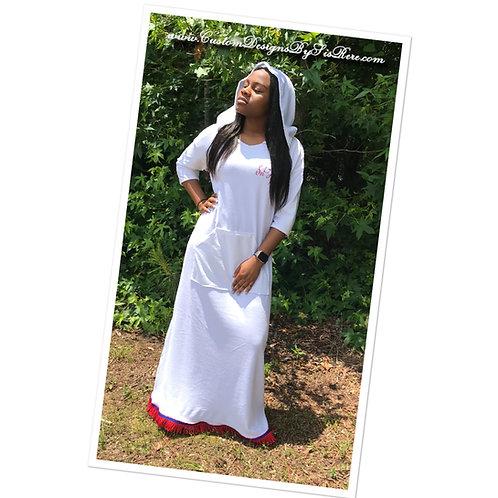 Hooded Maxi Jersey Dress w Custom Print