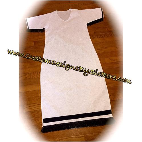White Sister Fringed Bordered Tunic