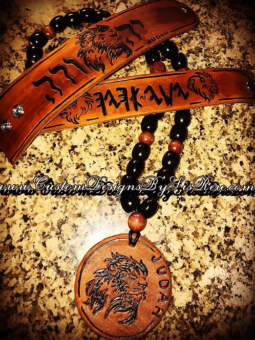 Tribal (Beaded Opt) Leather Round Medallion