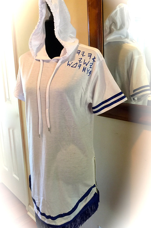 White Brother Hooded Royal Fringed Dbl Bordered FSHS Shirt