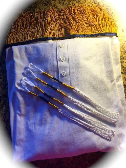 Button Top White Shirt Gold Fringes/Border