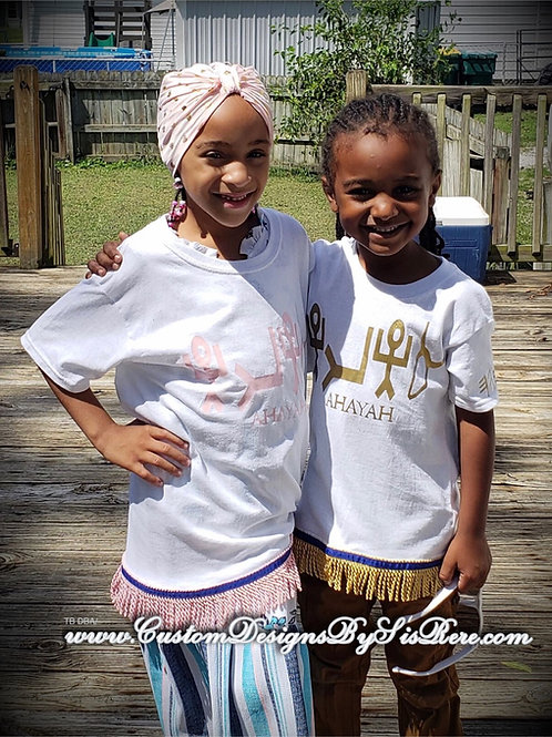 Childs/Youth AHAYAH T-Shirt Gold w Fringes & Border