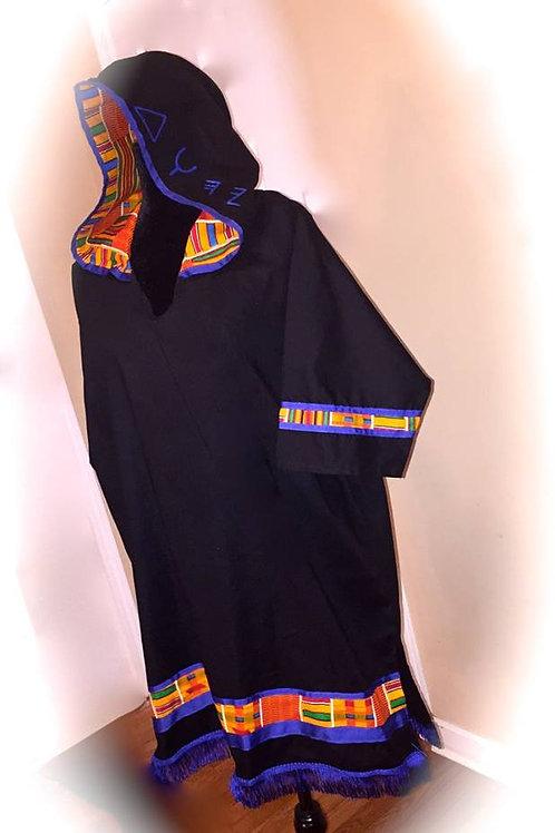 Bro Hooded Fringed & Bordered w Ethnic Print TUNIC