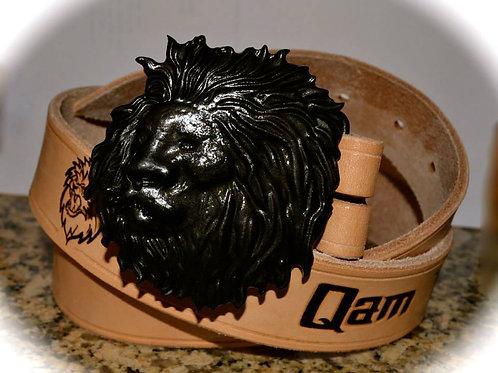 Custom Leather Belt w Theme Buckle