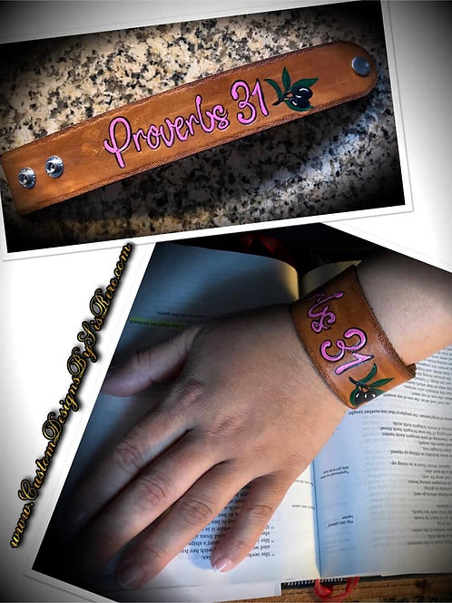"""1.5"""" Proverbs 31 w Olive Branch Sister Leather Wrist Cuff"""
