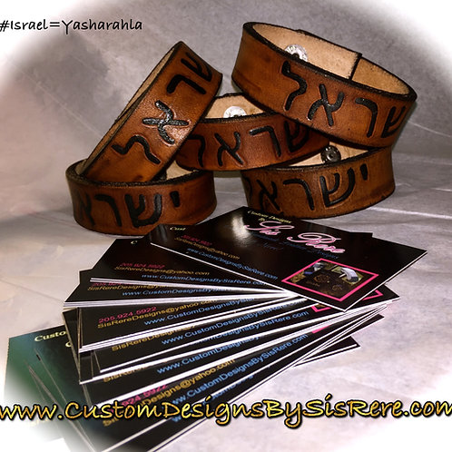 """3/4"""" Leather Hand Carved Hebrew Cuff"""