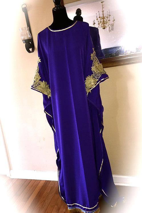 Gold Embroidered Sleeves Modest Elegant Caftan