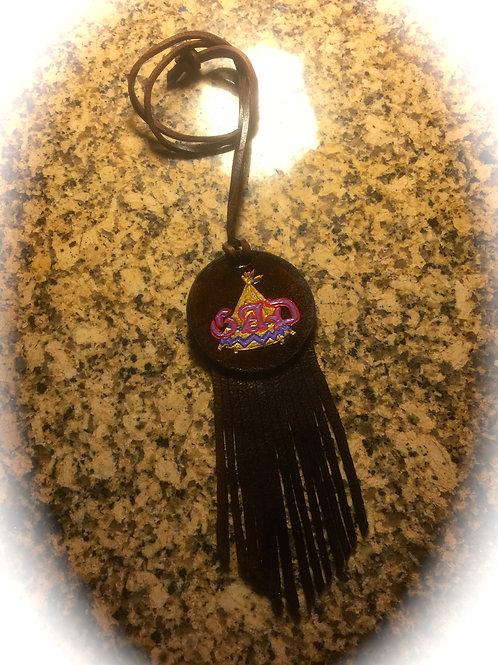 Custom Fringed Leather Round Medallion