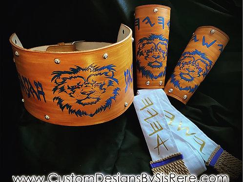 """Custom Leather Gird & 8"""" Arm Guards"""