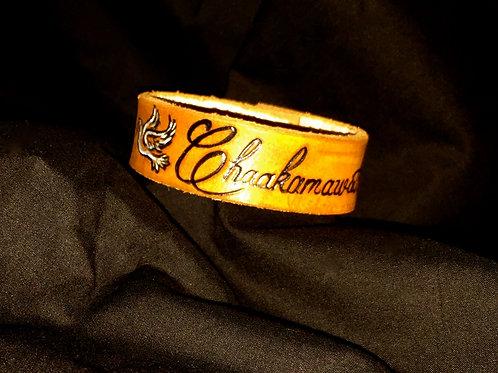Chaakamawath (Holy Spirits Name) Leather Wrist Cuff