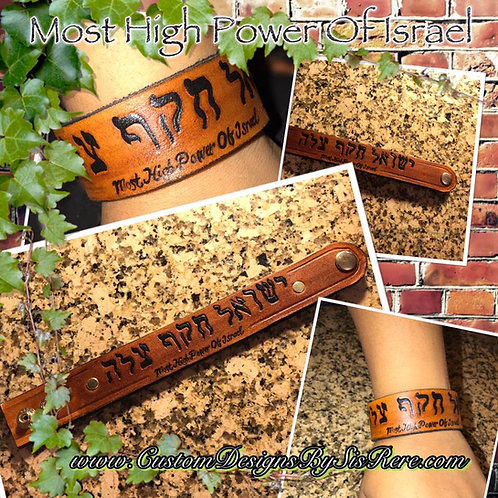 The Most High Power of Israel Leather Wrist Cuff