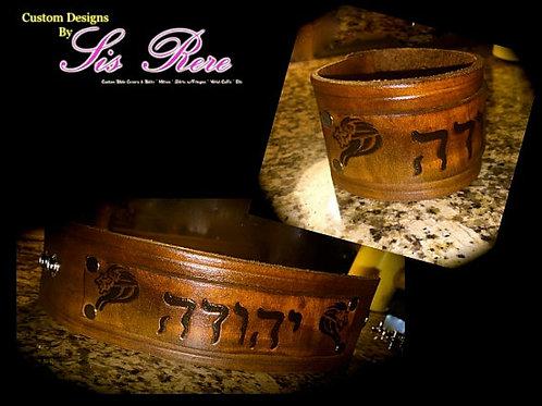 Custom Dbl Leather Tribal Wrist Cuff
