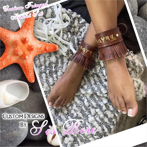 Custom Carved Leather Fringed Studded Anklet Set