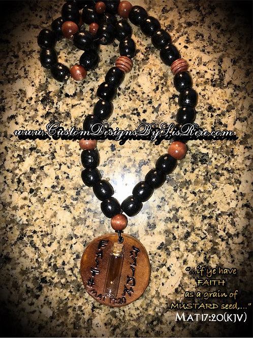 Faith Size Of Mustard Seed (Beaded Opt) Leather Round Medallion