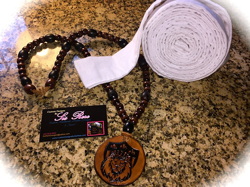 Round Shielded Lion Beaded Leather Medallion