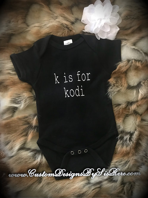 Custom Personalized Letter and Name Baby Onesie