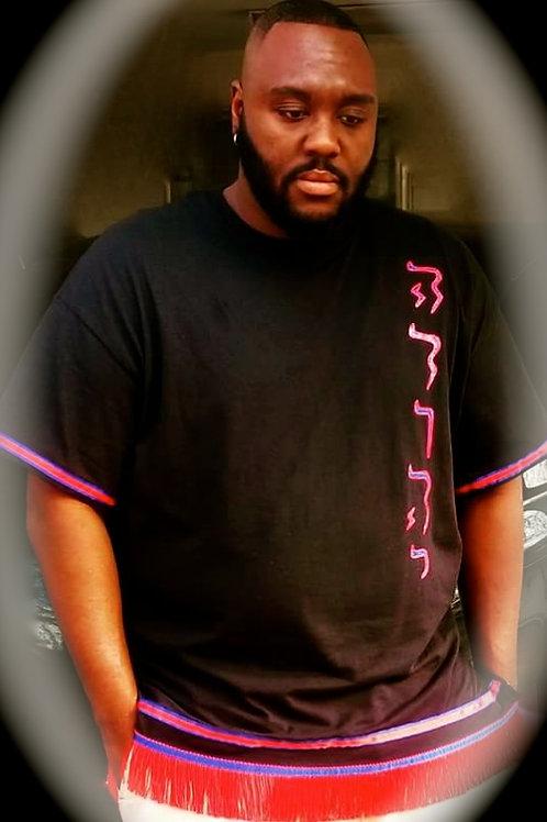 Side Zipper Shirt Fringes & Dbl Border (Arms & Waist) w Tribe