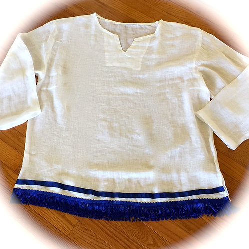 LINEN Brother Tunic w Fringed/Blue Border