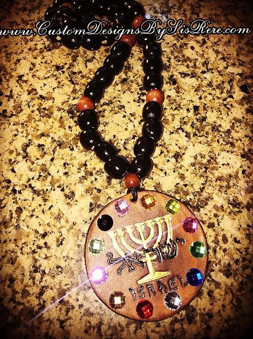 Leather Israelite Stone Medallion