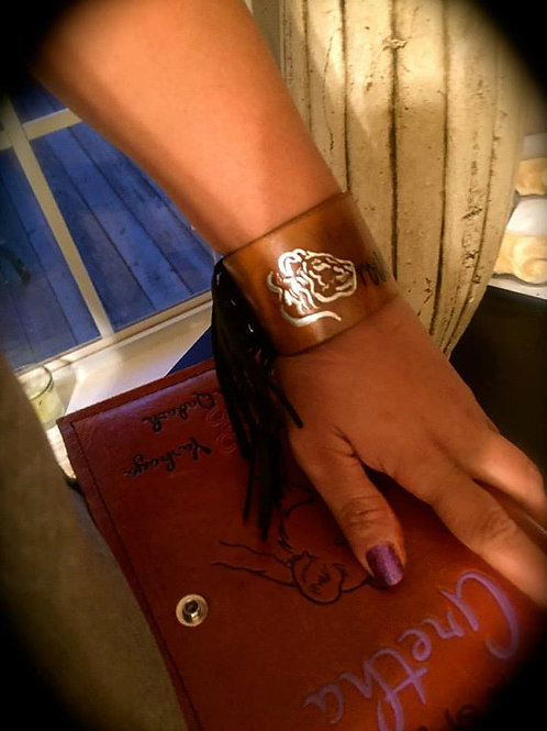 """2"""" Sister Fringed Leather Wrist Cuff"""