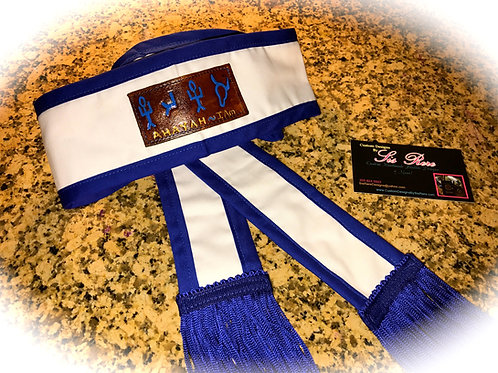 Ahayah Leather Patch Head Wrap w Blue Border & Fringes