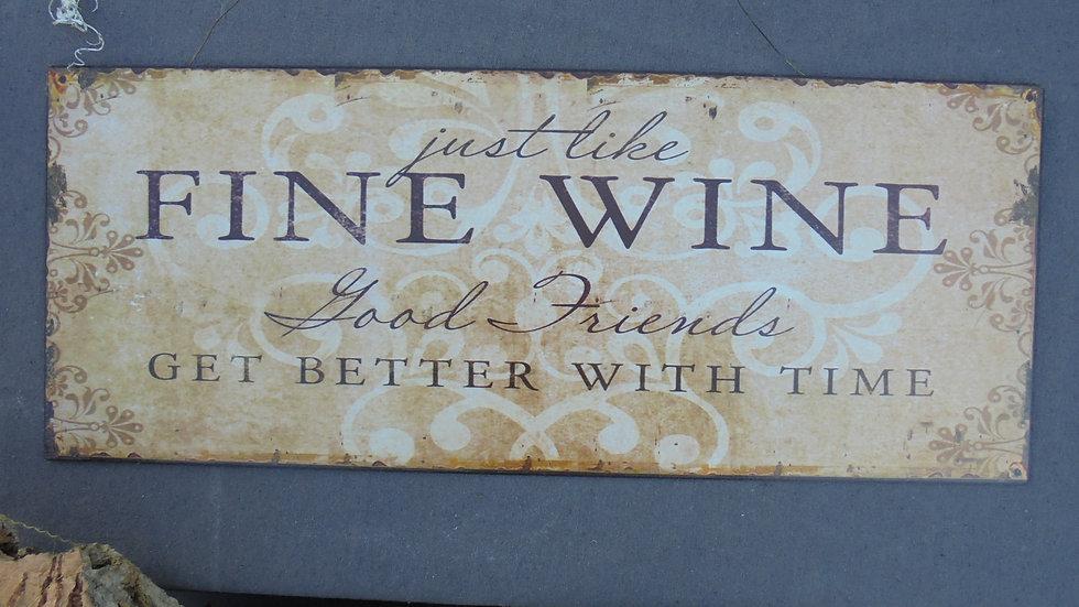 "Metall-Schild ""Fine Wine"""