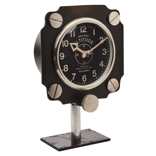 with a dial copied from a world war ii aircraft gauge the altimeter mantel clock stands firm in aluminum and brass and features authentic 1940s hands that - Mantel Clock