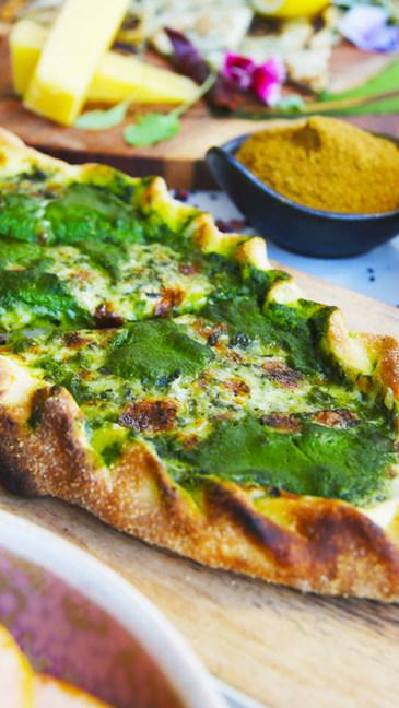 Mozzarella & Halloumi Cheese, Spinach, Fromage Blanc Sauce Turkish Pide