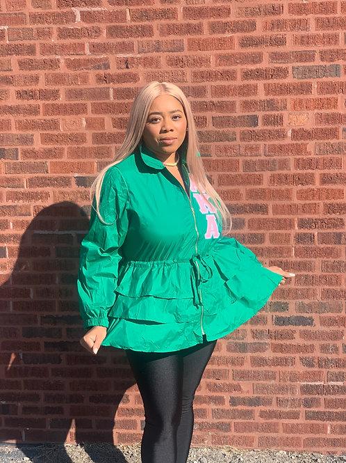 Peplum Line Jacket-AKA green