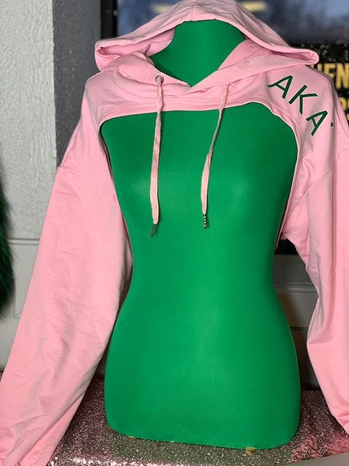 AKA Cropped & Hooded Shrug-pink
