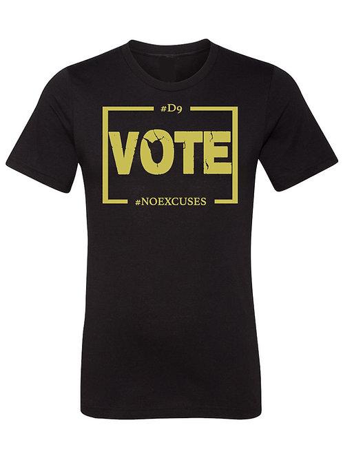 D9 Votes NO EXCUSES - Black/Gold