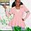 Thumbnail: Peplum Varsity Sweater-AKA Pink
