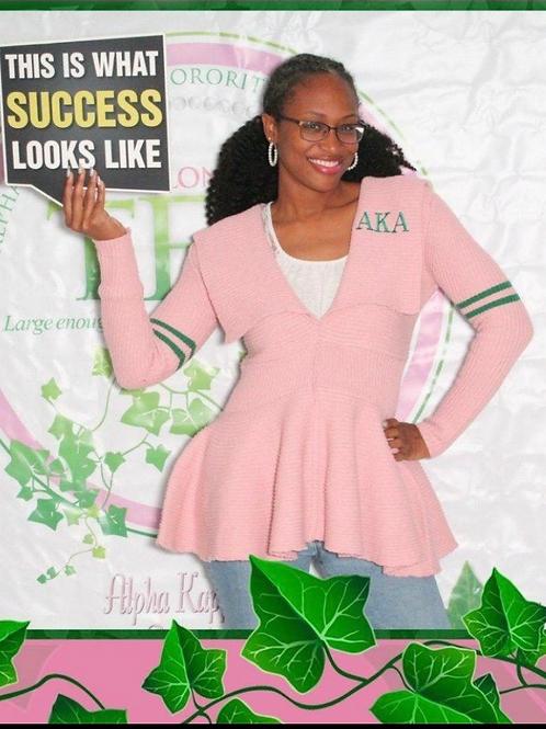 Peplum Varsity Sweater-AKA Pink
