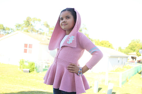Peplum Varsity Sweater - JJ Pink (girls)