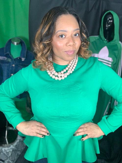 AKA GREEN Embossed Peplum Sweatshirt