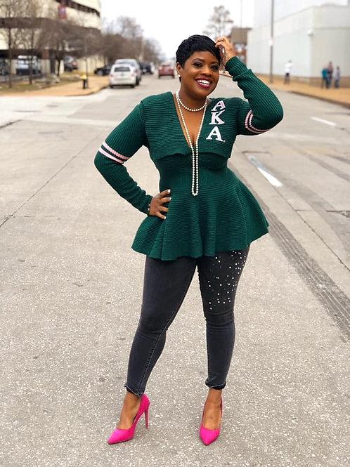 Peplum Varsity Sweater-AKA Green