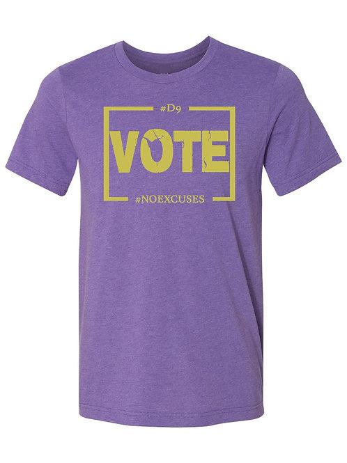 D9 Votes NO EXCUSES -Purple/Gold