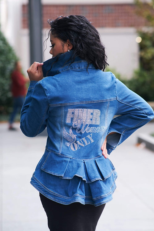 Zeta FINER WOMEN Peplum Denim Jacket