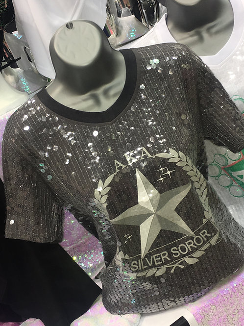Silver Star Sequin Top