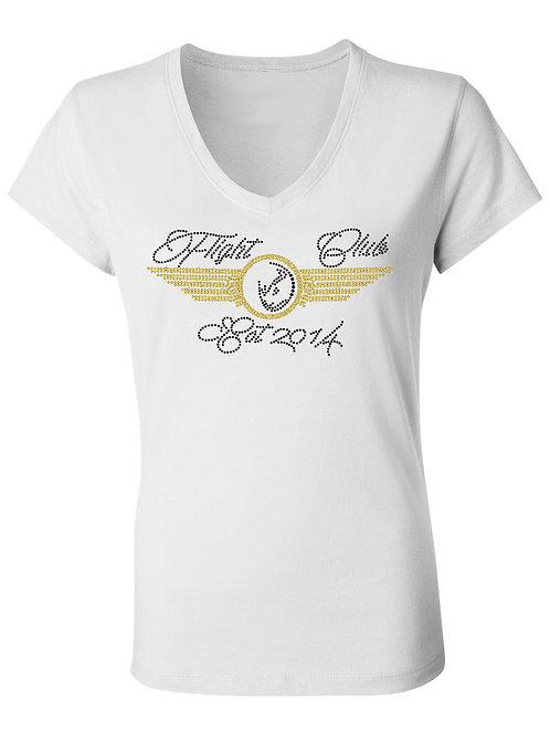 LADIES FLIGHT CLUB Tshirt-Vneck (WHITE)