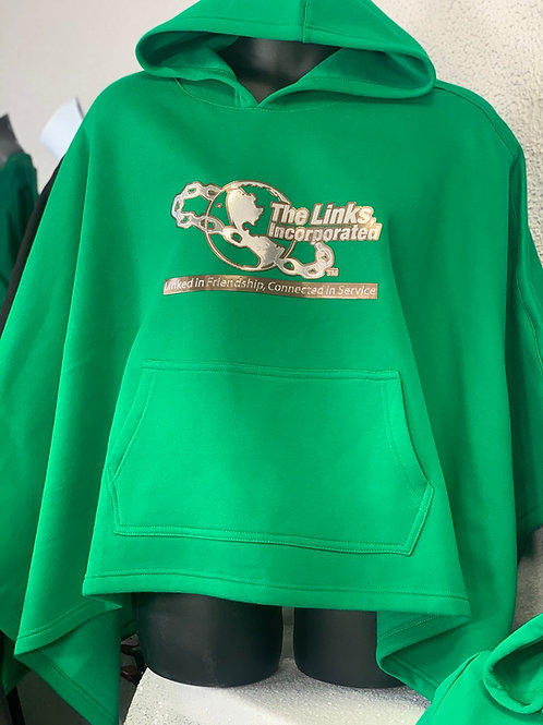 Green LINKS CHROME FLEECE PONCHO